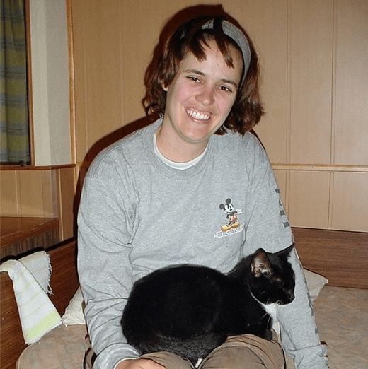 Black cat at Filaretai Hostel, Vilnius, Lithuania