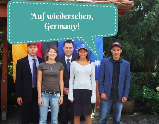 Saying goodbye Auf wiedersehen Germany