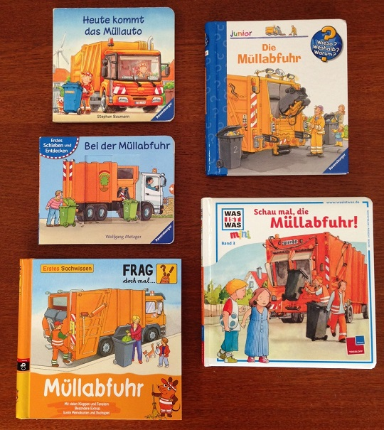 German books for toddlers about garbage trucks