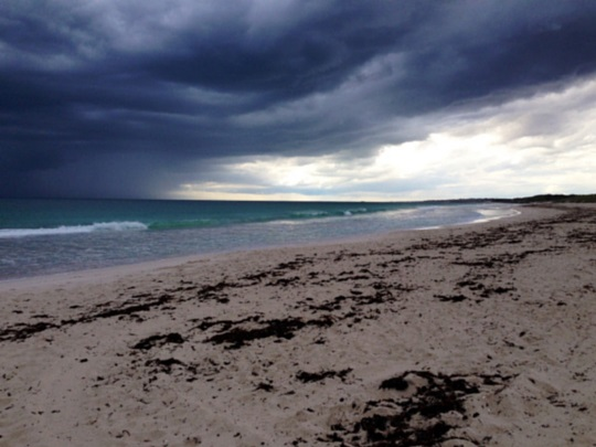 Perth beach on a stormy day